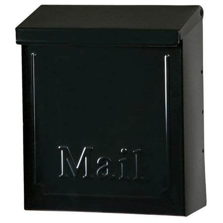 Gibraltar Vertical Galvanized Steel Wall-Mounted Black Lockable Mailbox 10-1/2 in. H x 4 in. W x 9 in. L