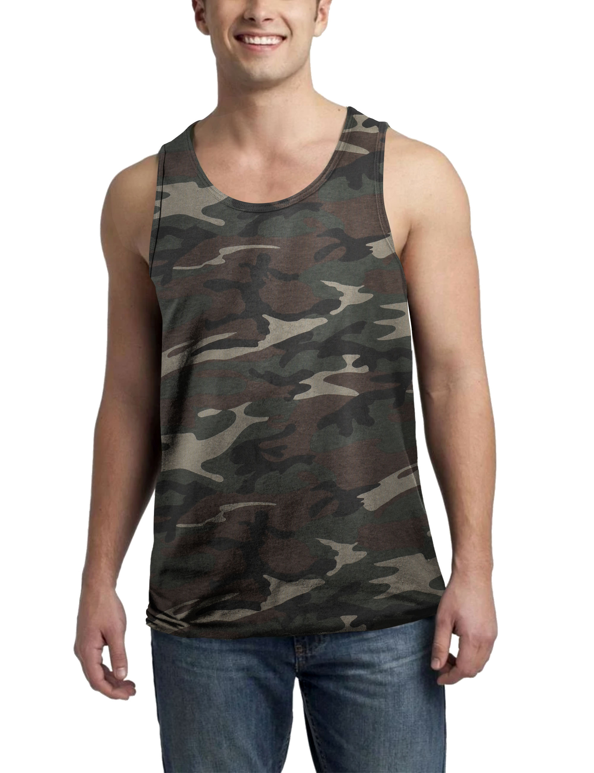 Mens Tank Top Muscle Fit Active Exercise Sleeveless Shirt