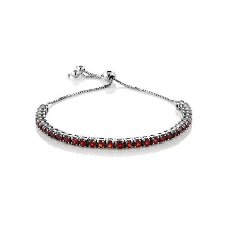"Garnet Adjustable Bracelet in 925 Sterling Silver (4.50 ct; 9.25"")"