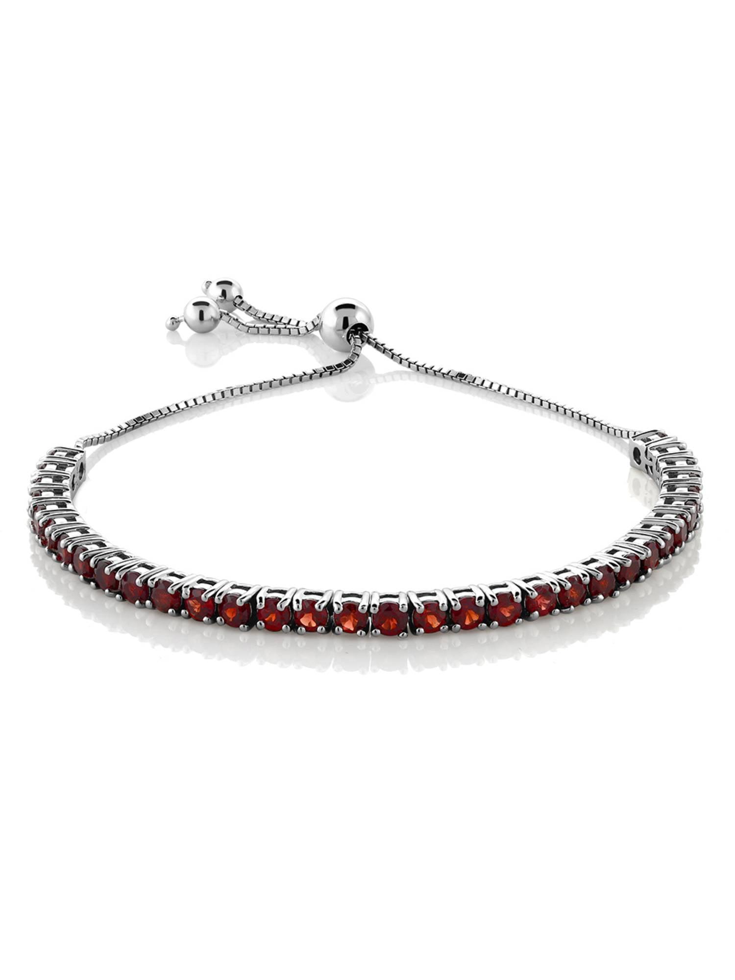 """Garnet Adjustable Bracelet in 925 Sterling Silver (4.50 ct; 9.25"""")"""