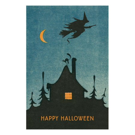 Happy Halloween, Witch Flying over House Print Wall Art ()