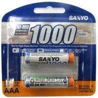 Sanyo 2-Pack AAA NiMH Rechargeable Batteries 1000mAh #HR4U-2-1000