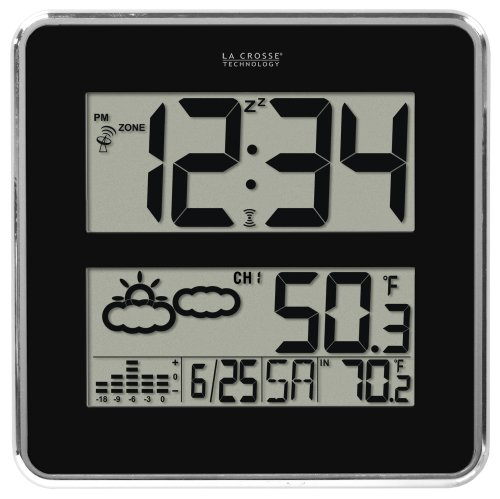 La Crosse Technology Atomic Digital Wall Clock with Forecast & Weather, Black