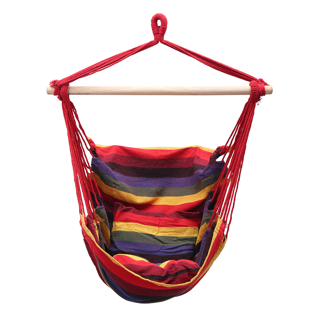 LANGRIA Hanging Rope Sponge Hammock Chair Hanging Strap Swing Seat for Any Indoor or Outdoor Spaces Max 264 lbs, Canvas Fabric Porch Swing Seat