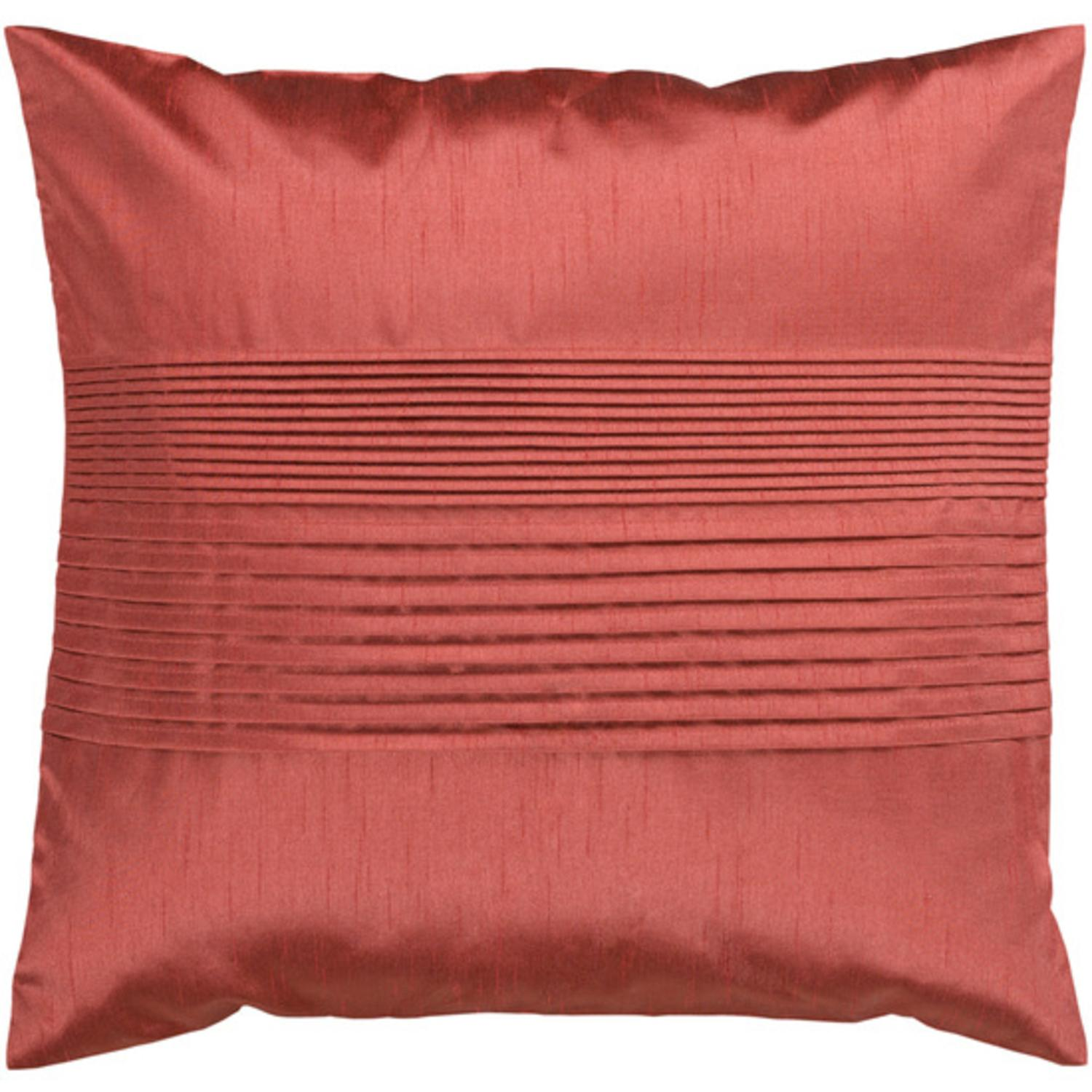 "18"" Rusty Red Clay Tuxedo Pleats Decorative Throw Pillow"