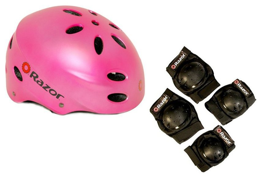 Razor V17 Child Skateboard   Scooter Pink Sport Helmet w  Elbow & Knee Pads by
