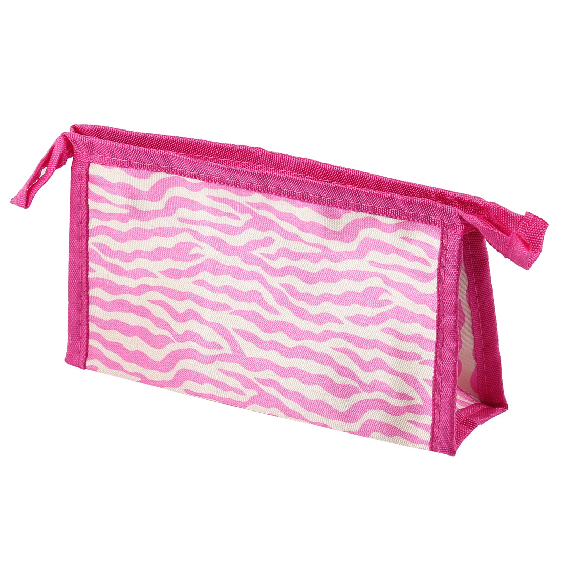 Pink Beige Nylon Zebra Print Zipper Closure Cosmetic Makeup Bag for Women