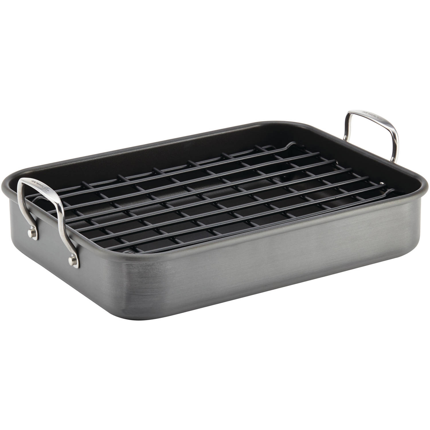 "Rachael Ray Hard-Anodized Nonstick Bakeware 16"" x 12"" Roaster with Dual-Height Rack, Gray"