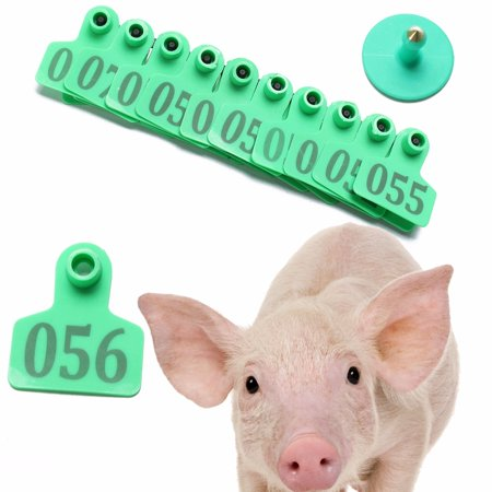100Pcs 001-100 Random Number Animal Goat Sheep Pig Cow Plastic Livestock Ear Tag 2''x1.6'' with (Piece Ear Tags)
