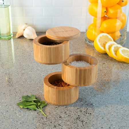 Bamboo 3 Tier Spice Box-Multi Compartment Storage Container for Spices, Herbs or Seasonings-Modern, Compact and Convenient Salt Box by Classic Cuisine