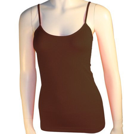 - Women's Basic Stretch Camisole Tank Top Spaghetti Strap Long Cami Plain One Size