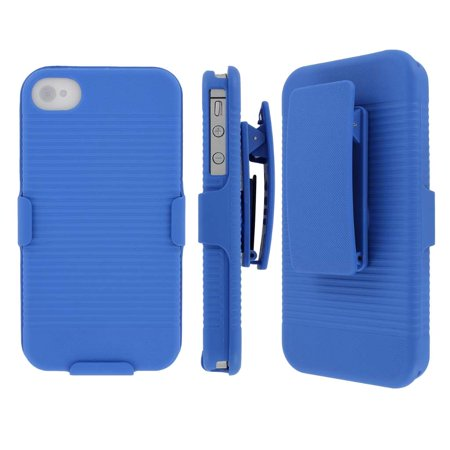 iPhone 4S Belt Clip Case, MPERO Collection 3 in 1 Tough Blue Kickstand Case for Apple iPhone 4 /