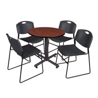 "Kobe 30"" Round Breakroom Table- Cherry & 4 Zeng Stack Chairs- Black"