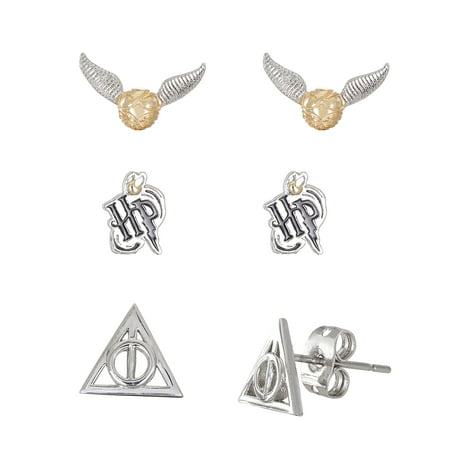 Harry Potter Silver Plated Snitch, Logo & Deathly Hollows 3pr Earrings Set ()