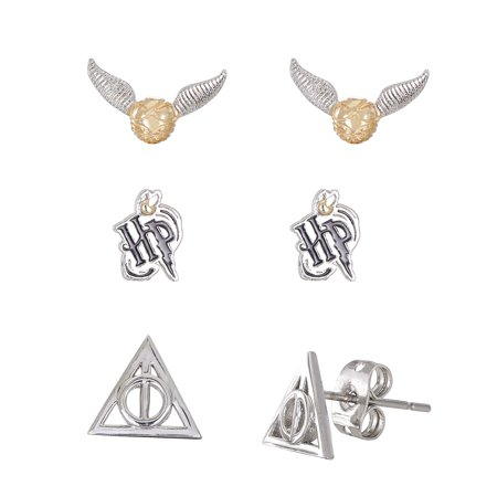 Harry Potter Silver Plated Snitch, Logo & Deathly Hollows 3pr Earrings Set