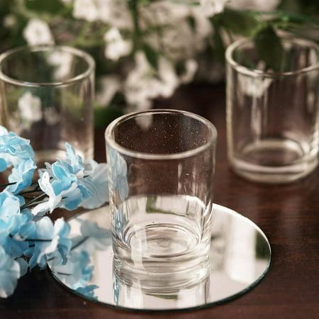 BalsaCircle 12 pcs Clear Votive Candle Holders - Wedding Favor Centerpiece Wedding Party Centerpieces Home Decorations