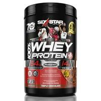 Six Star Pro Nutrition Elite Series 100% Whey Protein Powder, Triple Chocolate, 32g Protein, 2lb, 32oz
