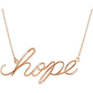 "Hope Diamond Necklace - 14K Rose 0.08 CTW Diamond Hope 16.8"" Necklace"