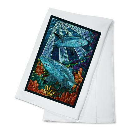 Black Tip Reef Shark - Paper Mosaic - Lantern Press Poster (100% Cotton Kitchen Towel)