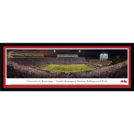 Ole Miss Football Stadium - Ole Miss Rebel Football - 50 Yard Line at Vaught-Hemingway Stadium - Blakeway Panoramas NCAA College Print with Select Frame and Single Mat