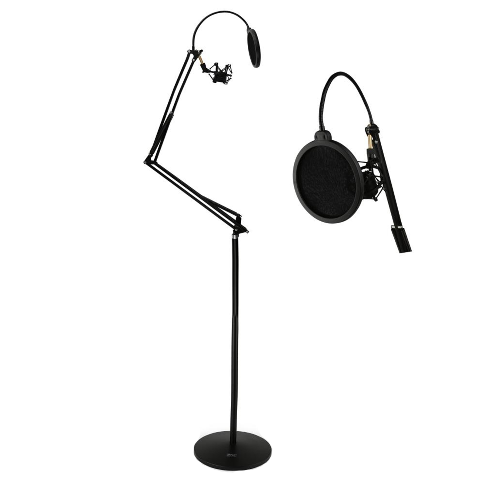 Floor-Standing Suspension Microphone Boom Stand Studio Scissor Arm Mic Mount, Includes Pop... by Pyle