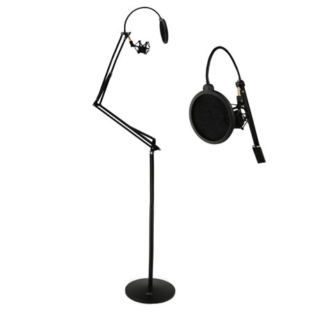 - Floor-Standing Suspension Microphone Boom Stand - Studio Scissor Arm Mic Mount, Includes Pop Filter and Anti-Vibration Shock Mount