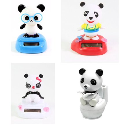 Set of 4 Sitting Bobblehead Panda Girl, Panda on the toilet and Dancing PandasNice Clothes Solar Toy Home Decor Birthday Gift (Toilet Toy)