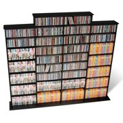 "Prepac Quad 64"" CD DVD Wall Media Storage Rack in Black"