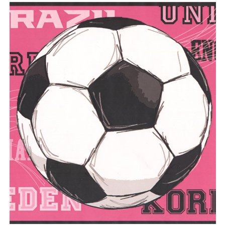 Prepasted Wallpaper Border - Soccer Balls Countries Sports Wall Border Retro Design, Roll 15 ft. x 9 in.