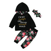 Musuos 3 Pcs Girl's Letter Print Long Sleeve Hoodie, Floral Trousers, Headband