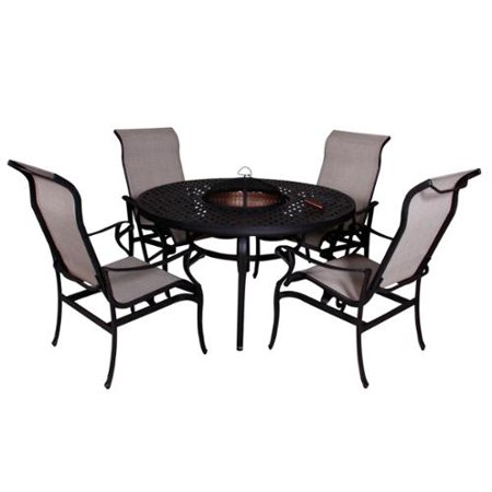 california casual lorraine dining height fire pit table and chairs 5 piece set. Black Bedroom Furniture Sets. Home Design Ideas
