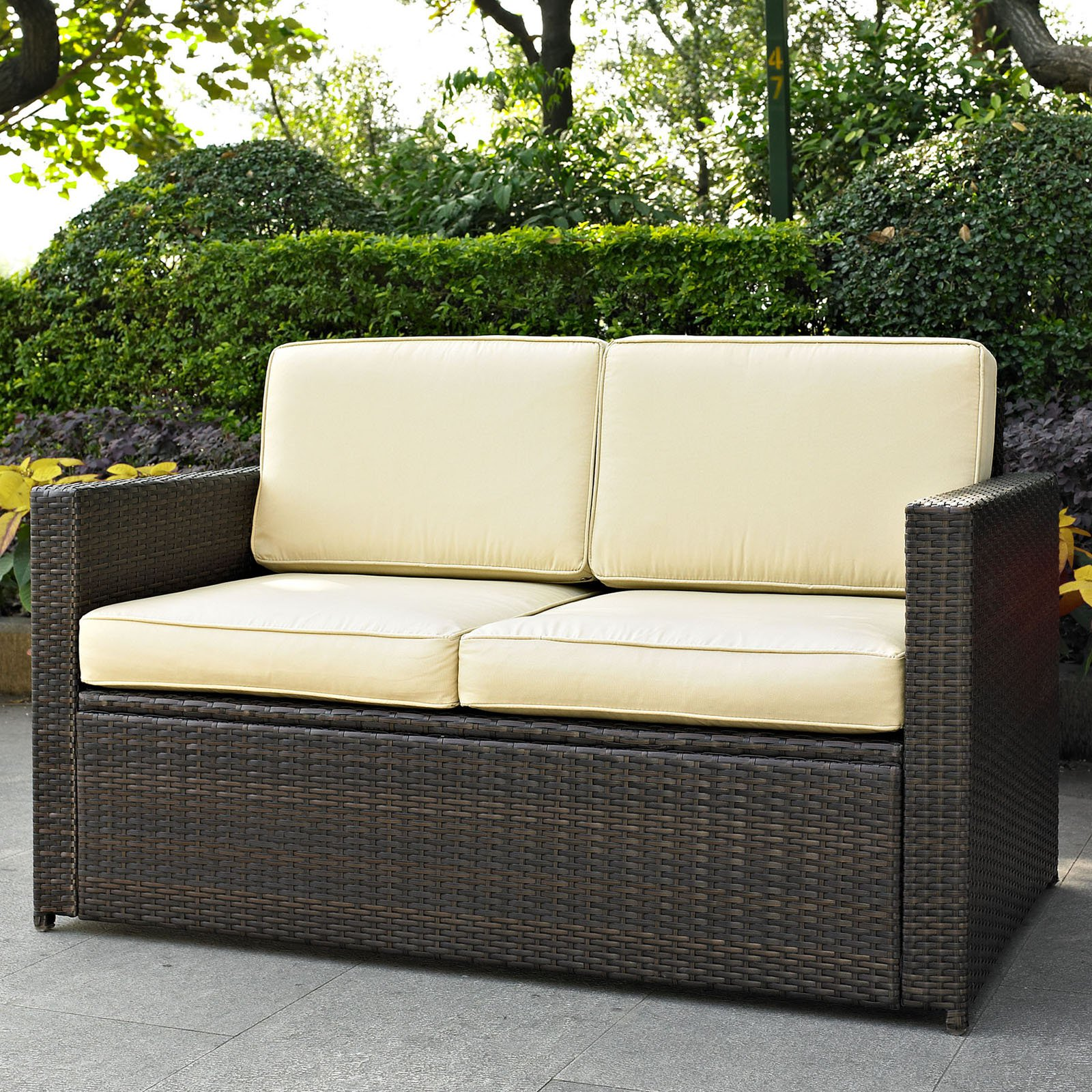 pd at shop outdoor lexington resin wicker loveseat java tortuga solid cushion