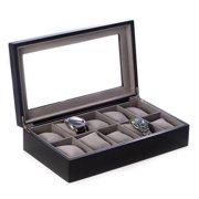 Bey-Berk International BB639BLK Matte Black Wood 10 Watch Box with Glass Top & Velour Lining & Pillows