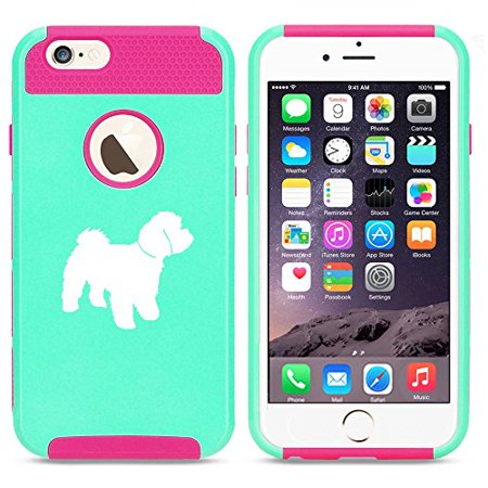 Apple iPhone 6 6s Shockproof Impact Hard Soft Case Cover Maltipoo (Light Blue-Hot Pink),MIP ()