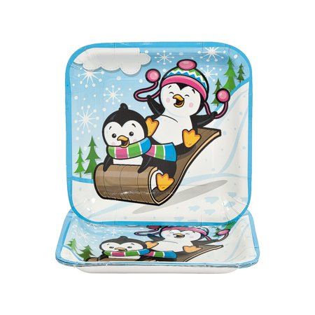 Fun Express - Penguin Party Sq Dinner Plates for Christmas - Party Supplies - Print Tableware - Print Plates & Bowls - Christmas - 8 Pieces