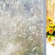 """3D Window Films Privacy Film Decorative Flower Film Sticker for Door Window Glass 17.5"""" x 78.7"""" No Glue Static Cling Self Adhesive Peel And Stick Heat Control Anti UV- Today's Special Offer!"""
