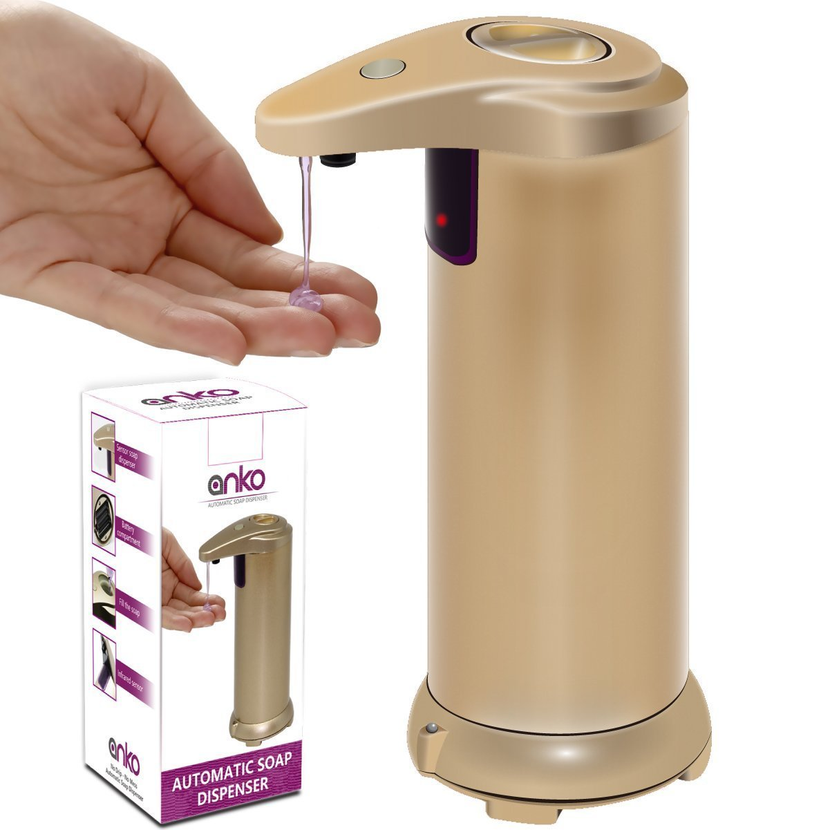 automatic touchless soap dispenser anko sensor stainless steel soap dispenser with waterproof base suitable - Automatic Soap Dispenser