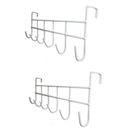 Set of 2 White Over The Door Home Bathroom Coat Towel Hanger Rack 6 Hooks, New WHITE OVER THE DOOR Metal HOOK Hanger with 6 Hooks By Coat Hooks