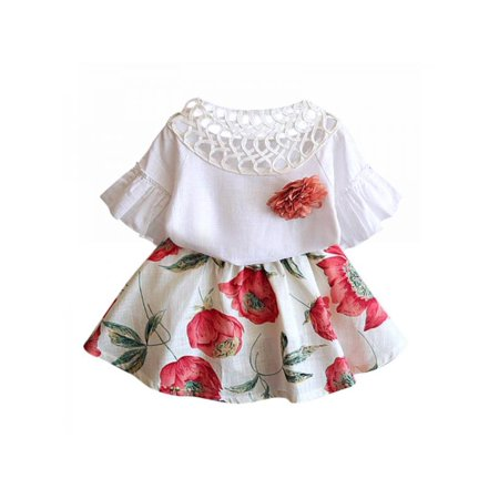 Show Girl Outfits (Lavaport Summer Toddlers Kids Baby Girls Short Sleeve T-shirt Tops+Floral Tutu Skirt Outfits)