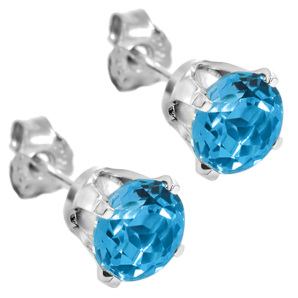 1.20 Ct Round 5mm Blue Topaz 14K White Gold Stud Earrings