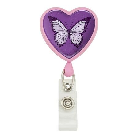 Butterfly Artsy Purple Heart Lanyard Retractable Reel Badge ID Card Holder - Pink