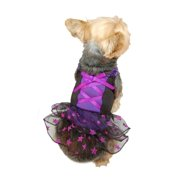 Purple Black Glitter Star Skirt Xmas Wedding Party Dress For Dog - 2 Extra Small (Gift for Pet)