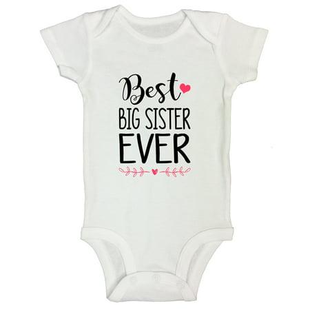 "002aa1792 Kid's Big Sis Onesie ""Best Big Sister Ever"" Sister Bodysuit - Toddler Shirt  Funny Threadz Kids 0 Months, White - Walmart.com"