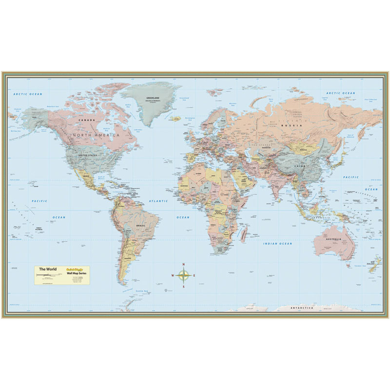 WORLD MAP LAMINATED POSTER 50 x 32