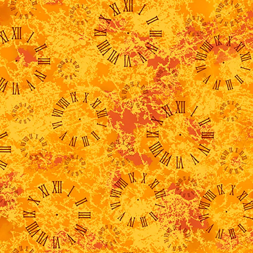 Quilting Treasures Bits & Bots Orange Roman Numeral