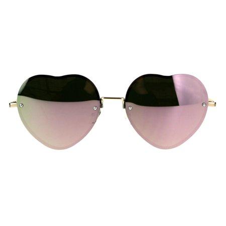 Womens Rimless Pink Mirror Heart Shape Gold Metal Rim (Sunglasses How To Choose Face Shape)