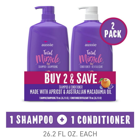 Aussie Miracle Volume Shampoo and Conditioner, 26.2 fl oz, Dual Pack
