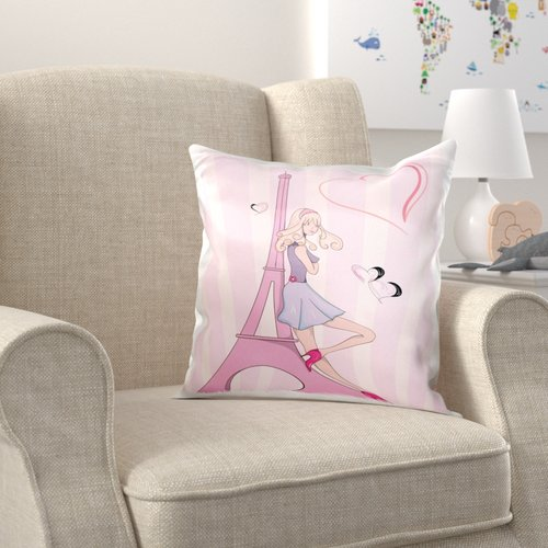 Zoomie Kids Brumfield Girly Girl Eiffel Tower and Hearts Paris Love Vector Illustration Pillow Cover