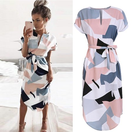 Hot Sell Spring Summer Sexy V-Neck Collar Prints in a long dress 2018