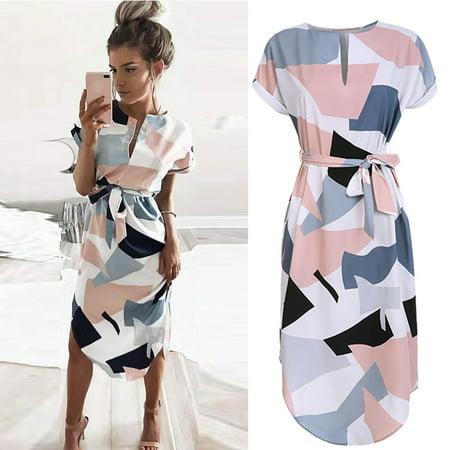 2018 Hot Spring Summer Sexy V-Neck Collar Dress Irregular Popular Long Sleeves Printing Geometric Squares